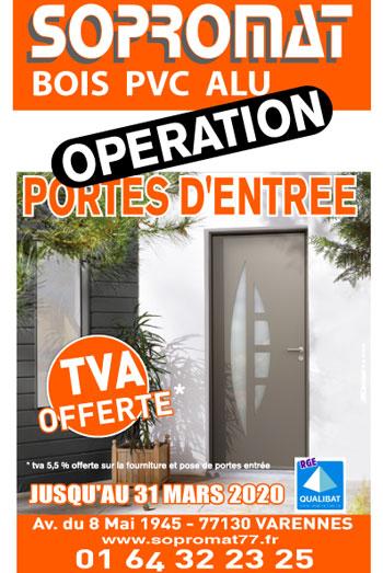 Promotion TVA portes d'entrée jusqu'au 31 mars
