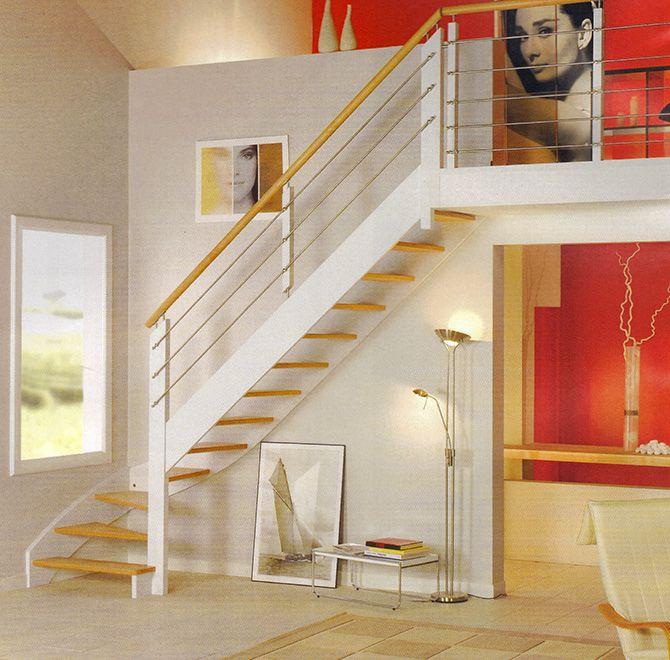 Escalier blanc quart tournant sur double limon
