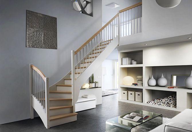 Escalier quart tournant blanc et contre marche