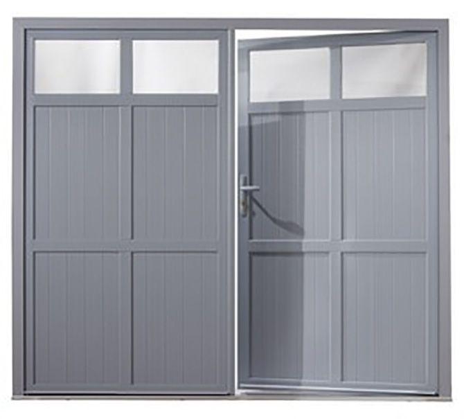porte de garage 2 vantaux en PVC blanc