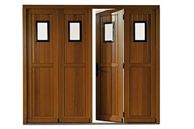 Porte de garage 4 vantaux en bois